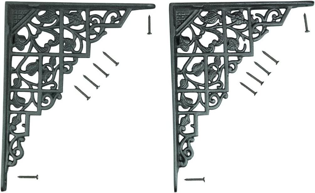 Renovators Supply Black Shelf Bracket Supports - Sold As Pair - Heavy Duty Aluminum Mantle Antique Floating Storage Shelf Support Rustic Home Decor 7 X 8 3/4 Inches with Mounting Screws
