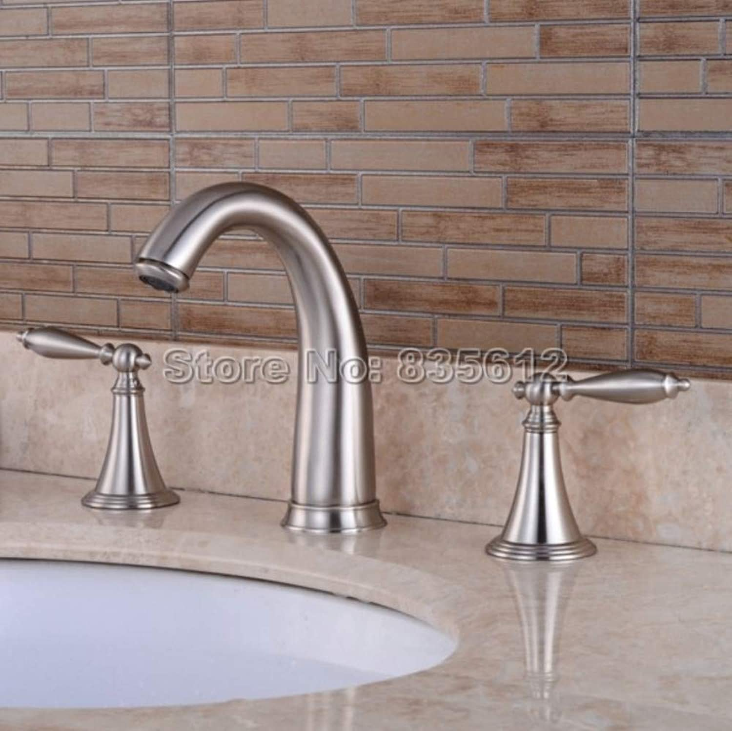 Bathroom Sink Tap Brushed Nickel Dual Lever Bathroom Basin Faucet Deck Mounted Widespread 3 Hole Sink Mixer Taps Bath Tub Faucets