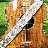 WINGO Hootenanny Guitar Strap 2'avec embouts en cuir réglables pour guitares acoustiques basses classiques et électriques, bouton en cuir gratuit