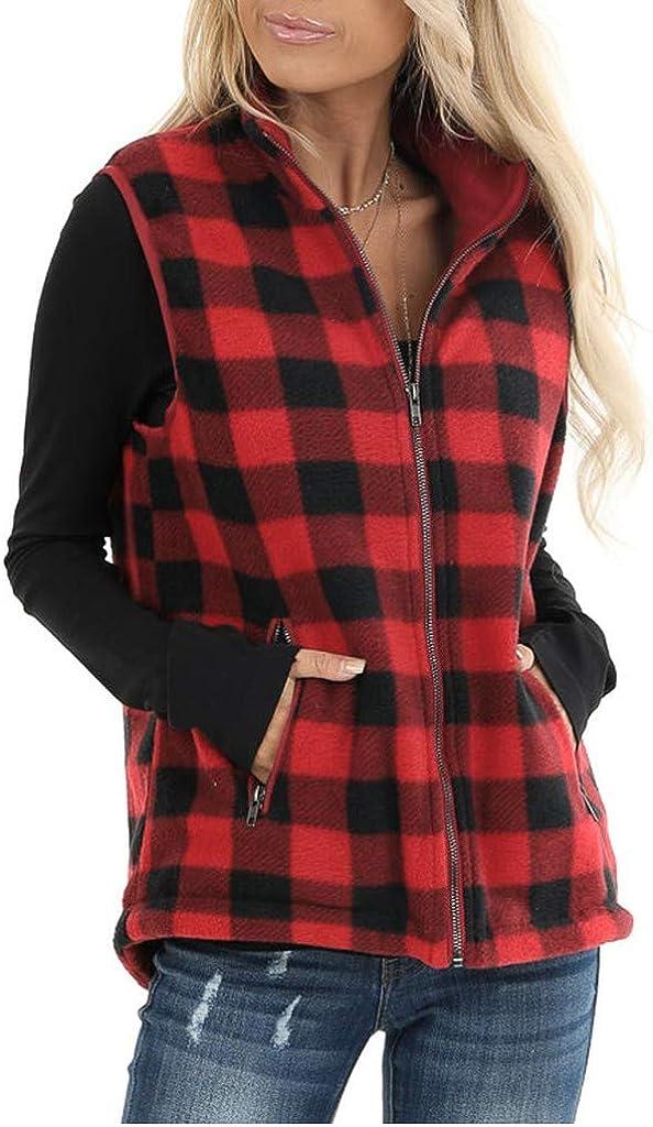 Womens Buffalo Plaid Corduroy Vest Flannel Winter Casual Coat Cardigan Lightweight Sleeveless Military Anorak Cargo