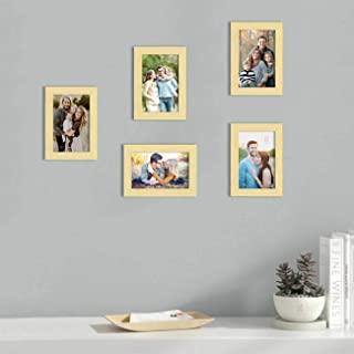 Art Street Set of 5 Beige Wall Photo Frame, Picture Frame for Home Decor with Free Hanging Accessories (Size -5x7 Inchs)