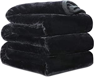 Fleece Blanket Queen King Twin Throw Size Soft Summer Cooling Breathable Luxury Plush Travel Camping Blankets Lightweight for Sofa Couch Bed (Black, Twin (66