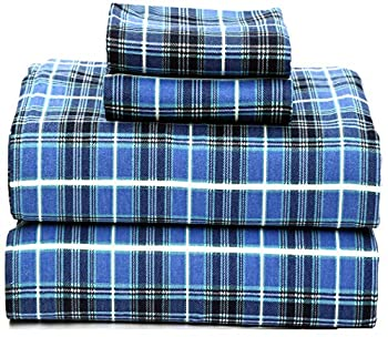 Ruvanti 100% Cotton 4 Piece Flannel Sheets Cal King - Deep Pocket - Warm - Super Soft - Breathable Flannel Bed Sheets Set Include Flat Sheet Fitted Sheet & 2 Pillowcases  California King Blue Plaid