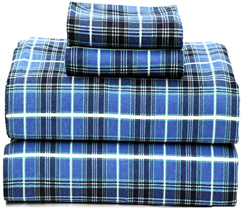 Ruvanti 100% Cotton 4 Piece Flannel Sheets Queen - Deep Pocket - Warm - Super Soft - Breathable Flannel Bed Sheets Set Queen Include Flat Sheet, Fitted Sheet & 2 Pillowcases (Queen, Blue Plaid)
