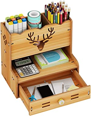 Multi-Functional Desktop Bookshelf Desk Organizer DIY Pen Holder Storage Rack Bookcase for School Home Office Art Supplies (C