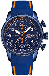 MINI FOCUS Classic Men Quartz Watch Analog Chronograph Wrist Watch with Calendar 3ATM Waterproof Luminous Pointer with Sil...
