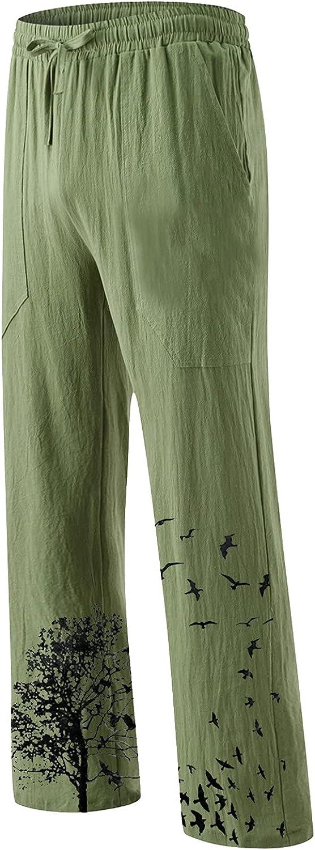 LEIYAN Mens Linen Pants Casual Elastic Waist Drawstring Summer Loose Hippie Cotton Beach Yoga Lounge Pants Trousers