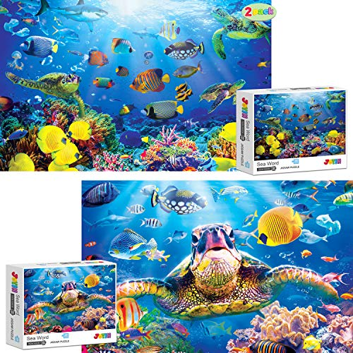 """JOYIN 2 Pack 1000 Piece Jigsaw Puzzles for Adults(27.56"""" x 19.69""""), Thick and Durable Sea Turtle Puzzles, Fit Together Perfectly Funny Family Puzzles for Adults and Kids"""