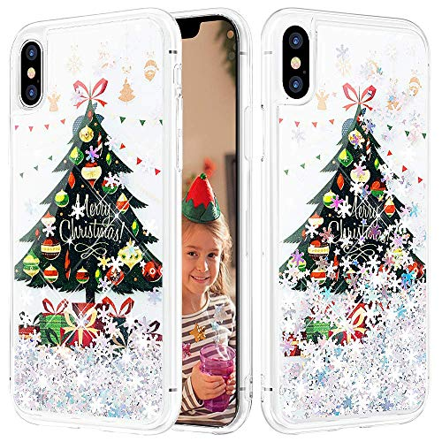 Caka iPhone Xs Max Case, iPhone Xs Max Glitter Case Liquid Series Sparkle Fashion Bling Luxury Flowing Liquid Floating Cute Glitter Soft TPU Clear Christmas Case for iPhone Xs Max (6.5 inch) (Tree)
