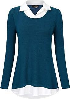 GloryStar Women's Short Sleeve Contrast Collared Shirts Patchwork Work Blouse Tunics Tops