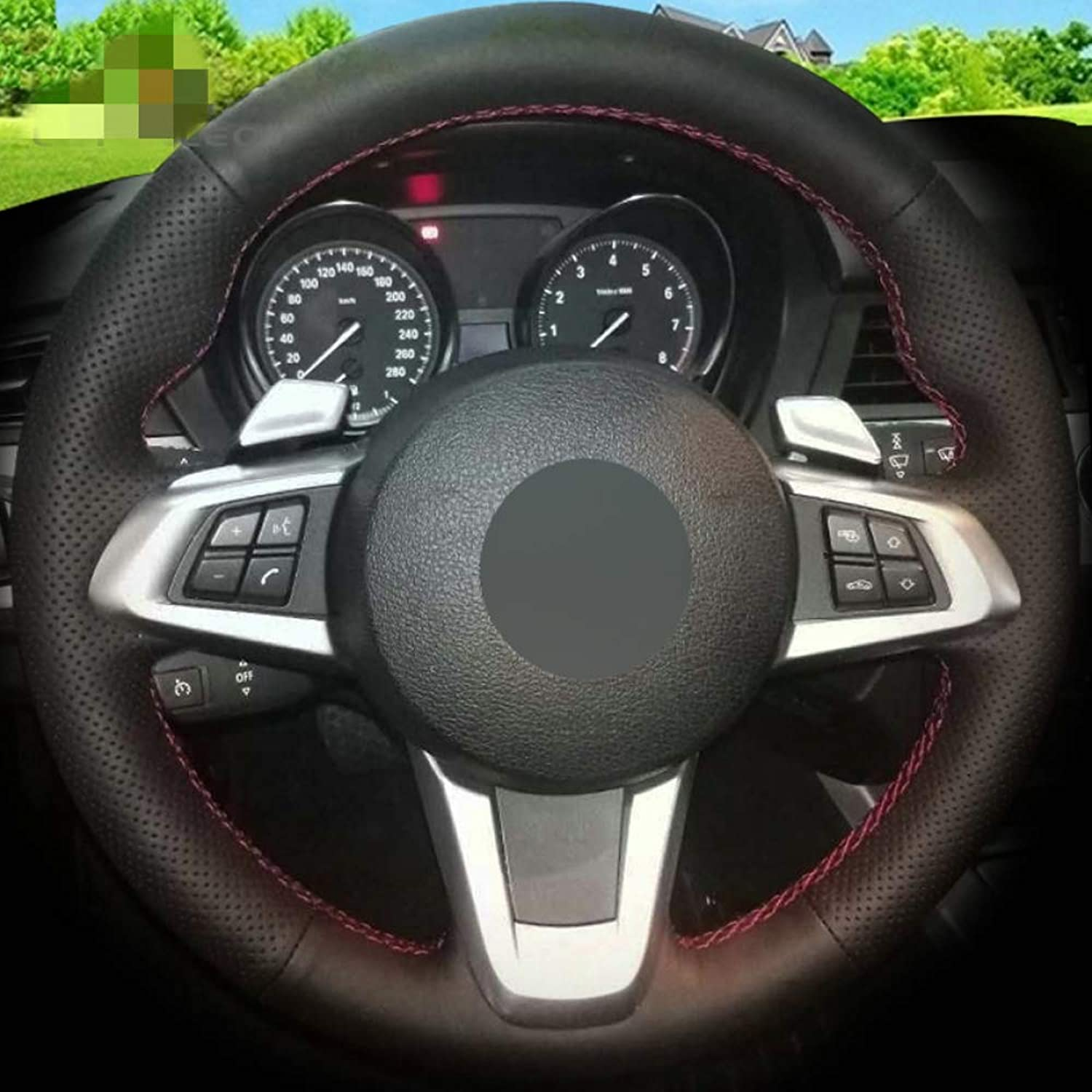 HCDSWSN Black Artificial Leather DIY Hand-Stitched Car Steering Wheel Cover for BMW E83 Z4 2009-2014