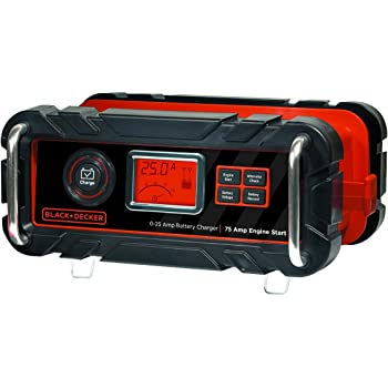 BLACK+DECKER BC25BD Fully Automatic 25 Amp 12V Bench Battery Charger/Maintainer with 75A Engine Start, Alternator Check, Cable Clamps