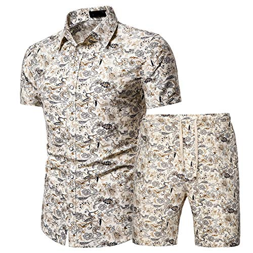 XPDD Mens Flowers Casual Hawaiian Shirt and Short Suits Men's 2 Piece Tracksuits Floral Sweat Suit Short Sleeve Shirt and Shorts Suit Set Sports Outfit Mens Shorts and T Shirt Sets 3D Print Top