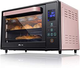Horno inteligente de 3 capas de 30 l, horno tostador de tostado por convección de 1600 vatios con agarraderas, horno de encimera de acero inoxidable, pan de 6 rebanadas, pizza de 12 pulgadas, rosa, ne