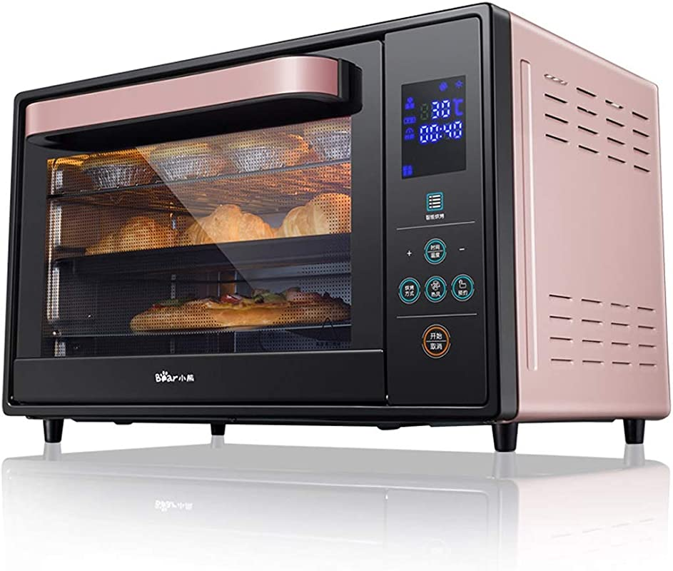30L 3 Layer Smart Oven 1600W Convection Toaster Roaster Oven With Pot Holders Countertop Oven Stainless Steel 6 Slice Bread 12 Inch Pizza Pink Black