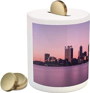 Lunarable Australia Piggy Bank, Dawn Twilight Cityscape in Perth Purple Tones Sky Buildings and Skyscrapers, Printed Ceramic Coin Bank Money Box for Cash Saving, Multicolor