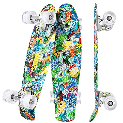 WeSkate Mini Cruiser Skateboard Retro Full Board 22 55cm Vintage Skateboard con borde de plástico Cruiser Board con PU Flash Wheel Bearing ABEC-7 para adultos, niños, niñas