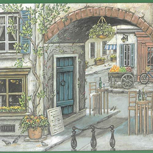 Dundee Deco BD6082 Tapeten Bordüre, vorgekleistert, Vintage-Stil, Grün, Braun, Gelb, Französische Stadt, Tapetenbordüre 4,57 m x 24,13 cm