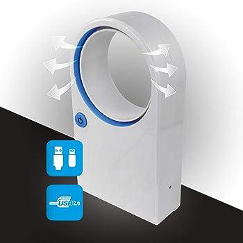 Mini Ventilador sin aspas con Cable USB o Funcionamiento con batería.: Amazon.es: Electrónica