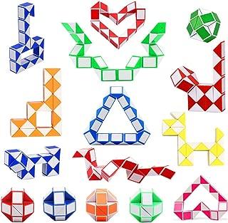 FOWALCOO 16 Pack 24 Blocks Magic Snake Cube, Mini Plastic Puzzle Cube, Fidget Toys ,Mini Snake Speed Cubes for Kids Party Bag Filler, Random Colors, Party Supplies, Puzzle Favors