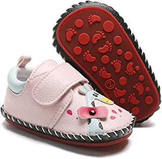 Babelvit Baby Girls Boys Soft Rubber Sole Walking Sneakers Hard Bottom Infant Cartoon Slippers Non Slip PU Leather Toddler First Walkers Crib Shoes 3-18 Months