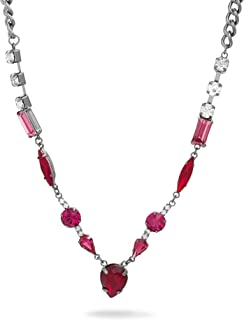 Steve Madden Pink Red Rhinestone Station Necklace for Women