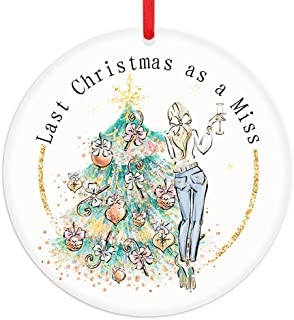"""FaCraft Christmas Engaged Ornaments 2020,3"""" Engaged Christmas Ornament Mrs & Mrs Newlywed Gifts for Her Brida Miss,Last Ch..."""