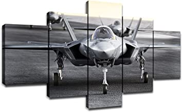 Multiple F35 Military Jet Strike Aircraft Preparing for Takeoff on A Strike Mission Wall Decor 5 Piece Canvas Bedroom Decoration Wall Picture Artwork Wooden Frame(60''Wx32''H)