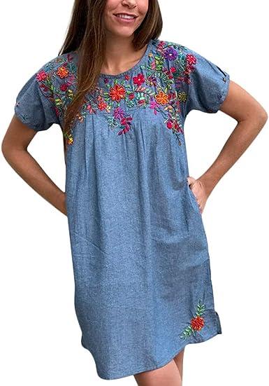 Topasy, vestido floral bordado de verano, cuello redondo ...