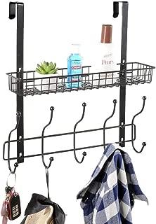 KEIMIX Coat Rack, Over The Door Hanger with Mesh Basket, Detachable Storage Shelf for Towels, Hats, Handbags, Coats (Black)