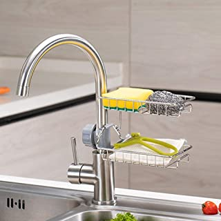 Kitchen Storage Rack Faucet Stainless Steel Sink Sponge Rack Shower Caddy Soap Dish Sink Organizer Can Also be Used as Bat...