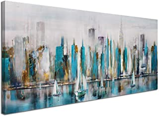 Large Manhattan River Abstract Painting Canvas Wall Art Decor Modern City New York View Painting Artwork for Living Room Bedroom Office Home Decoration Large 24x48