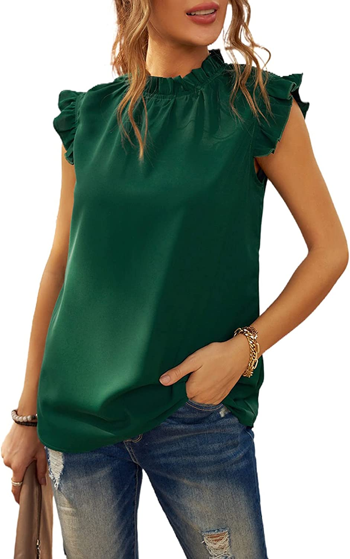 FARYSAYS Womens Chiffon Crewneck Tunic Tank Tops Summer Casual Sleeveless Blouse Shirts