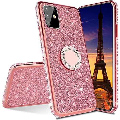 IMEIKONST Funda con purpurina para Galaxy A12, con anillo giratorio y soporte de silicona suave y TPU, compatible con Samsung Galaxy A12 Bling Rose Gold KDL