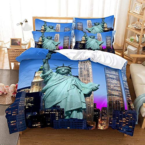 3D Bettbezug 3-Teiliges Set,Statue Von Liberty Double King Size 3-Teilige Bettwäsche Set (Bettbezug + 2 Kissenbezüge) Leichte Einfache Pflege Reißverschluss Weiche Komfortable Schlafzimmer Dekor,
