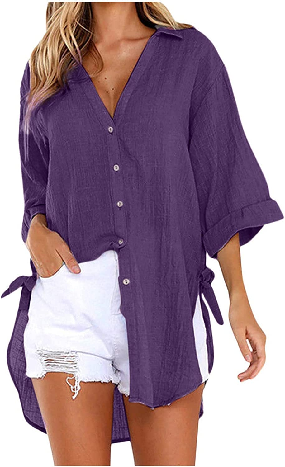 Blouses for Women Fashion Button-Up Solid Color Tops V-Neck Long Tunics Side Twist Knot Shirts Tops