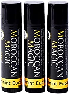 Moroccan Magic Organic Peppermint Eucalyptus Lip Balm | Made with Natural Cold Pressed Argan and Essential Oils | High Quality Lip Balm | Smooth Application | Non-Toxic, Cruelty Free | 3 Pack