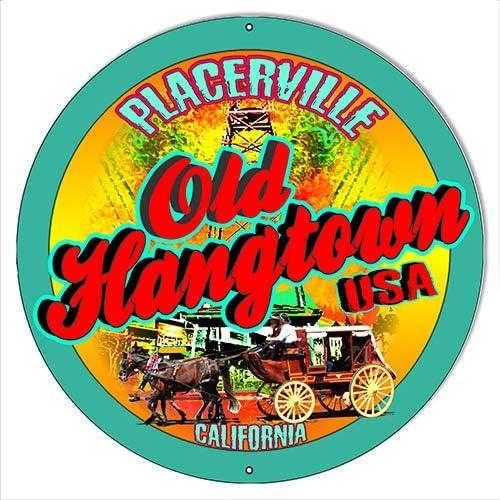 ArtFuzz Old Hangtown Placerville CA. Round Sta Metal service 22g 18?x18? Safety and trust