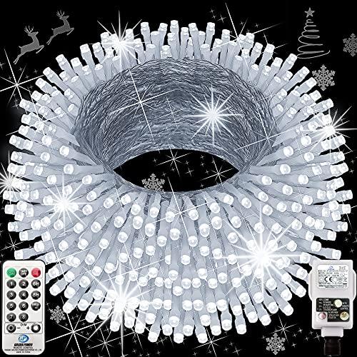 Hezbjiti Navidad Guirnalda Luces, 120m 1000 Led Luces de Cadena 8 Modos Luces de Hadas para Interior Exterior Casa Fiestas Jardín Balcón Navidad Halloween Boda Iluminación Decorativa