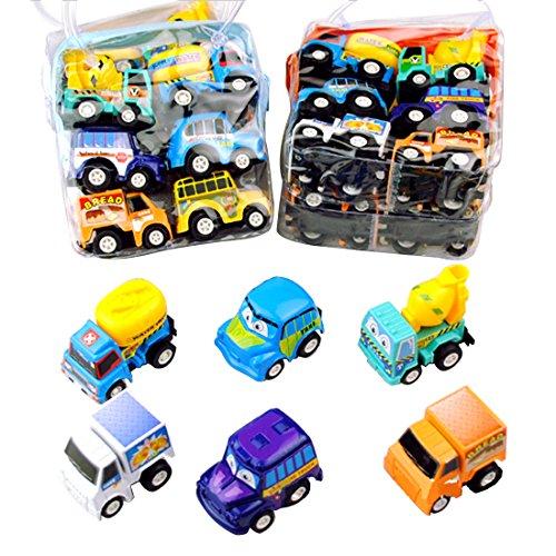 ISABELLE Lot de 6 petites voitures différentes Back Voiture Mini Construction Team Véhicule Véhicule Modèle Toy Bon Cadeaux pour Enfants