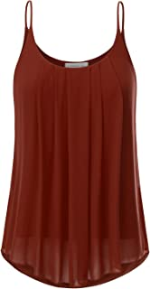 6f94261a489aba JJ Perfection Women s Pleated Chiffon Layered Cami Tank Top