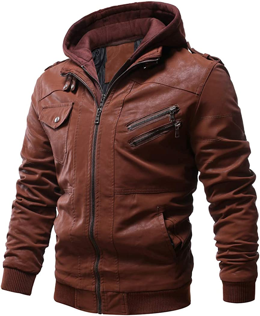 WULFUL Men's Vintage Motorcycle Faux Leather Jacket Outwear Winter Jackets with Removable Hood