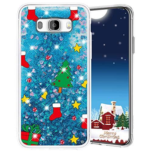 Misstars Weihnachten Handyhülle für Samsung Galaxy J7 2016 / J710, 3D Kreativ Glitzer Flüssig Transparent Weich Silikon TPU Bumper mit Weihnachtsbaum Muster Design Anti-kratzt Schutzhülle