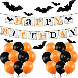 UTOPP Halloween Birthday Party Decorations, Latex Balloons & Happy Birthday Banner& Black Vampire Bat(32pcs) for Halloween Theme Party Supplies Decorations Kit for Kids