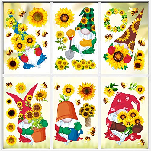 43 Pieces Spring Sunflower Patterns Window Clings Decor Sunflower Bee Gnome Stickers Clings Decals Static Sticker for Spring Holiday Birthday Parties Bedroom Nursery Living Room Wall Decor