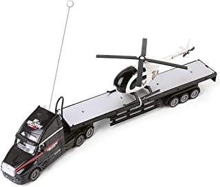 Blue Block Factory BLUEBLOCK Remote Control RC 1:15 Scale Big Rigs Transport Truck and Detachable Helicopter Set with Sounds and Lights,for Boys, Ages 3+