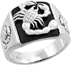 Sterling Silver CZ Black Onyx Scorpion Ring for Men Square Scorpio Both Sides 9/16 inch sizes 8 - 14