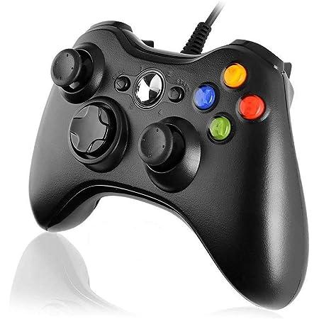 Diswoe Manette Filaire Xbox 360, Manette Xbox PC Joystick, Manette du Contrôleur de Jeu Filaire avec Double Vibration pour PC Xbox 360 Windows