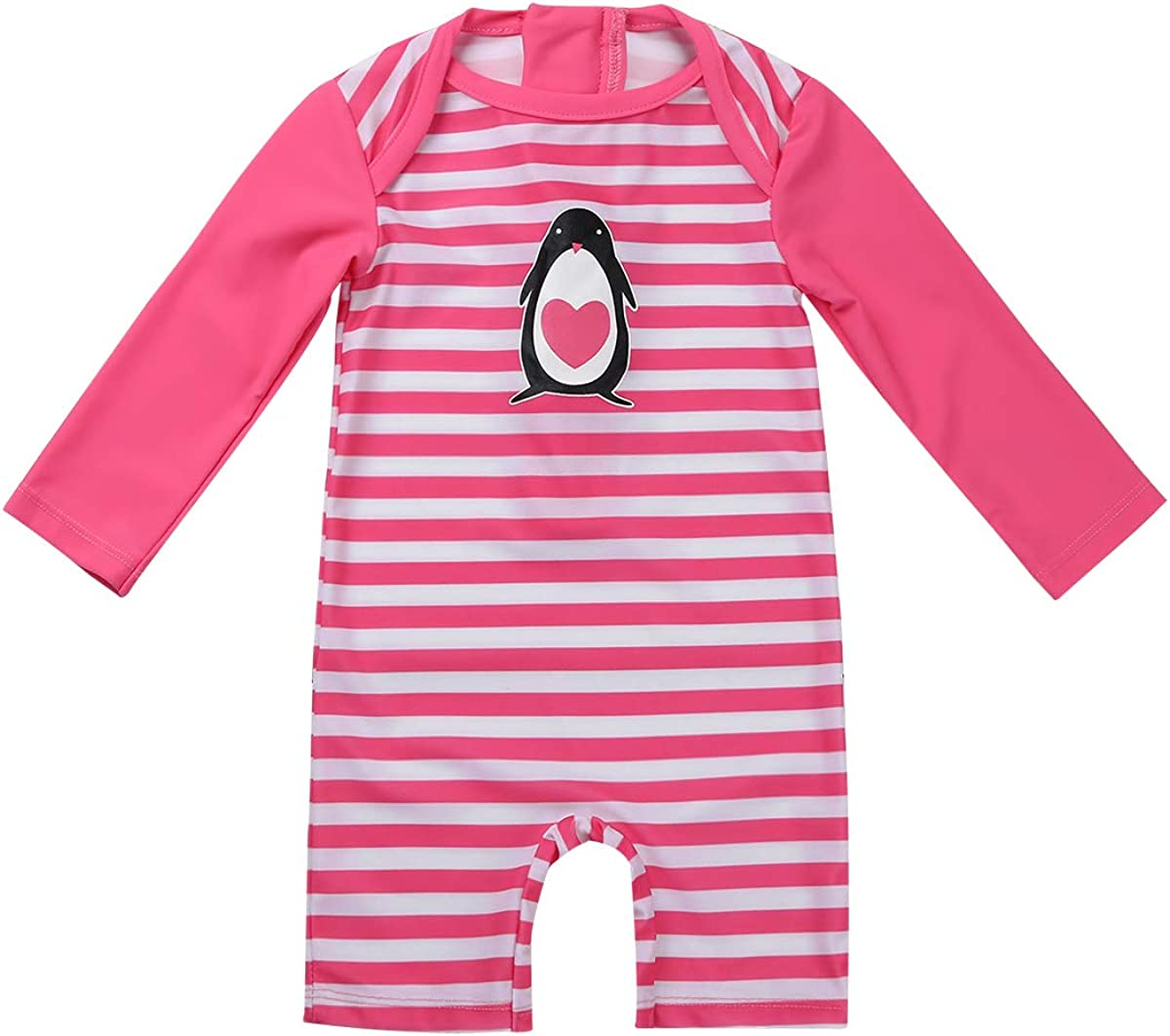 National uniform free shipping Agoky Baby Girls One Piece Striped Swimsuit Sun Rash Zip Guard Low price P