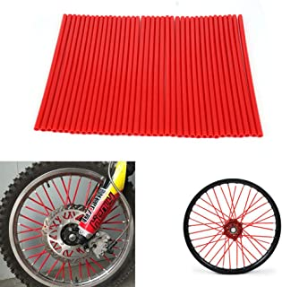 72 Pcs Motorcycle Plastic Wheel Spoke Guard Wrap Cover Protector Skins Covers For Honda CRF50 CR125R 250R CRF230F CRF250R CRF250X XR400R XR600 Motorbike Dirt Bike - Red